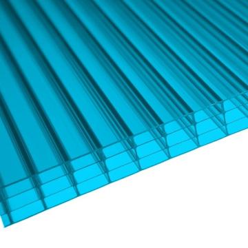 Feuille multiwall bleue de polycarbonate de mur 4 (OEM disponible)