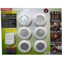 Lightmates LED Puck luces inalámbricas con control remoto y baterías - Paquete de 6