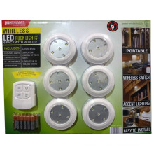 Lumières de rondelle sans fil de LED avec la télécommande et les piles - paquet de 6