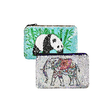 SEQUIN PENCIL CASE PANDA&ELEPHANT PATTERN-0