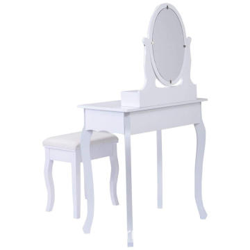 Vanity Table Jewelry Makeup Desk Bench Dresser w/ Stool  Drawers White