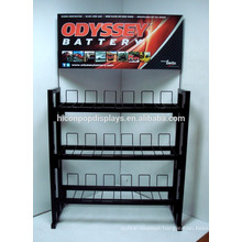 Metal Automotive Accessories Retail Store Freestanding 3-Tier 12 Volt Motorcycle Battery Display Rack