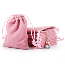 Wholesale custom most popular gift jewelry pouch bags pink velvet cosmetic jewelry drawstring bag with print logo