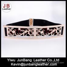 Fashion Ladies Metal Waist Elastic Belt with Big Buckle