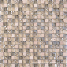 300X300 Kitchen Glass Mix Natural Stone Mosaic Tile Sheets