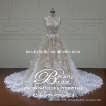 Vestido de noiva de renda feminina com renda francesa com modéstiplos enfeites