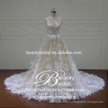 рукавов французские кружева бальное платье свадебное платье, со скромными украшениями