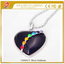 7 Chakras Gemstone Blue Goldstone Heart Pendant Necklace