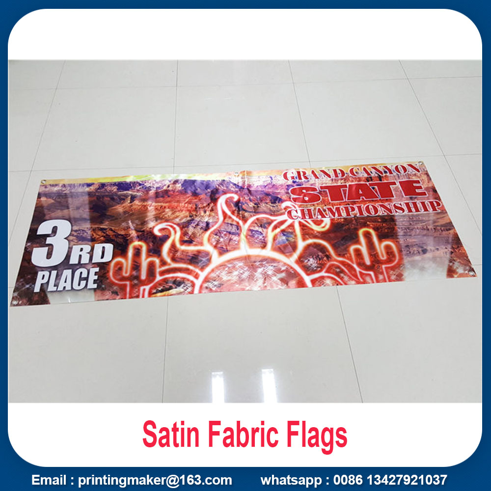 satin fabric flags with dye sublimation printing