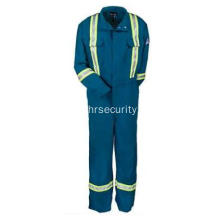 Blue Flame-Resistant Cotton Work Coveralls