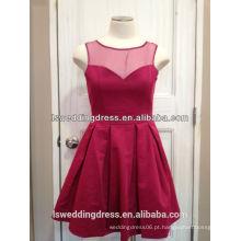 LS2013 Red sem manga top de organza cheio reuniu cetim comprimento do joelho decote redondo vestido de noite de amostra real
