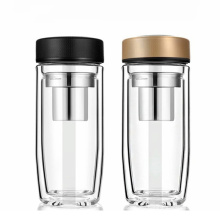 Eco Friendly Customized Double Glass Water Bottle with Tea Infuser Glass Water Bottle Bpa Free