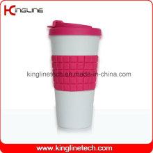 Copo de café de silicone de 500 ml com banda Sillicone e capa OEM (KL-CP006)