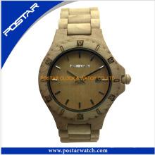 Hochwertige natürliche hölzerne Uhr mit runden Zifferblatt für Frauen