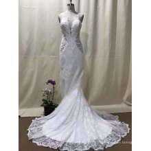Shoulder Deep V Lace Mermaid Wedding Dress