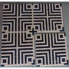 Black Mix Beige Marble Mosaic Tile (HSM138)