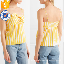 Spaghetti Strap Knotted Yellow And White Striped Cotton Summer Top Manufacture Wholesale Fashion Women Apparel (TA0074T)