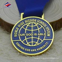 Alliage de zinc, classe d'or, ruban, jolie médaille de médaille de métal