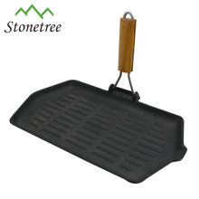 Pre-seasoned Cast Iron Grill Pan With Double Removable Handle
