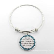 Expandable Wire Charm Bangle Adjustable Silver Bracelet