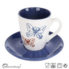 7oz Cup and Saucer Two Tone Glaze Shinny Color Design