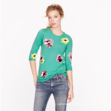 Ladies' pure cashmere Computer embroidery jacquard sweater pullover