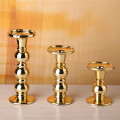 Metallic Gold Beade Glass Pillar Holder