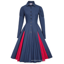 Belle Poque Victorian Style Long Sleeve Shirt Collar Contrast Color Navy Swing Retro Vintage Dress BP000366-3