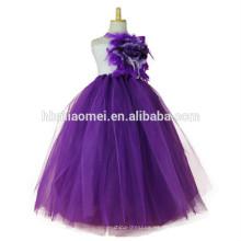2017 nuevo diseño de la princesa tutu vestido hecho a mano vestido de bola de la longitud del piso floral puffy tutu dress para niñas