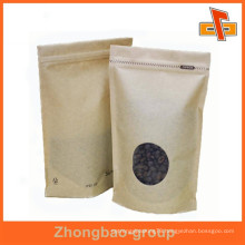 laminated material custom stand up kraft paper resealable zip lock bags for coffee