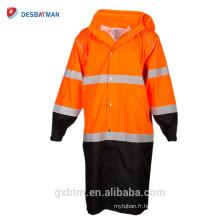 Polyester extérieur polyester 150 deniers avec revêtement PU jaune sécurité haute visibilité travail veste réfléchissante en gros en ligne
