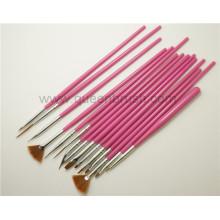 Factory Nail Supplies 15PCS Plastic Handle Nail Art Brushes