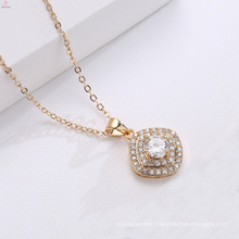 Copper Chain Jewelry 18K Gold Zircon Pendant Necklace