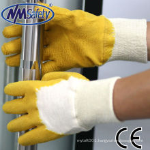 NMSAFETY light garden work use cotton liner with 3/4 yellow latex shell light duty gloves