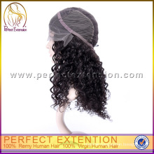 For Black Women Long Curly Human Indian Virgin Hair Lace Wig