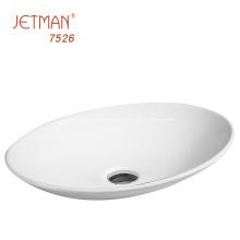 Lavabo artístico de cerámica ovalada blanca