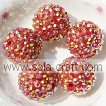 18*20MM Resin Acrylic Rhinestone Ball Beads For Bracelet Making Gold Red AB