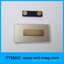 Placa de identificación magnética de plástico rectangular en blanco