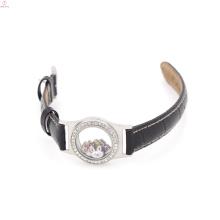 Relógio de vidro flutuante de couro adolescente personalizado, medalhão pulseira envoltório de couro