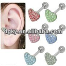 Moda coração forma 316L cirúrgico orelha pregos