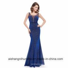 Élégant Long Royal Bleu Sexy Robe De Bal Sans Manches