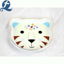 Dibujos animados personalizados lindo leopardo forma de cerámica de dibujos animados de mascotas tazón de alimentación