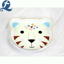 Customized cartoon cute leopard face shape ceramic cartoon pet feeding bowl