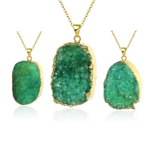 Fashion Jewelry Green Crystal Natyral Stone Pendant Necklace Gold Plated