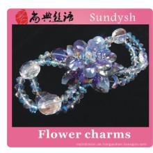 Latest Design Sparkling Crystal Big Open Flower Zircon Bracelets