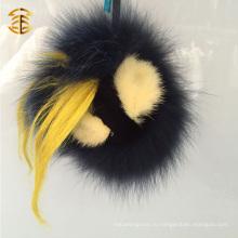 Черный цвет Real Fox Fur Аксессуар для животных Кожаная кожа Мех Pom Pom Bag Charm