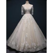 Половина Рукава Кружева Длина Пола Свадебное Платье Свадебное Платье