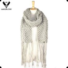 2016 Mujer larga franja de punto de ganchillo de bufanda