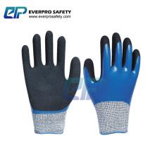 Cut Resistant Level 5 HPPE Liner Blue Nitrile Full Coated Sandy Palm Coated Work Gloves