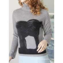 Senhoras ′ pulôver de pescoço alto com impressão Cprp1106L